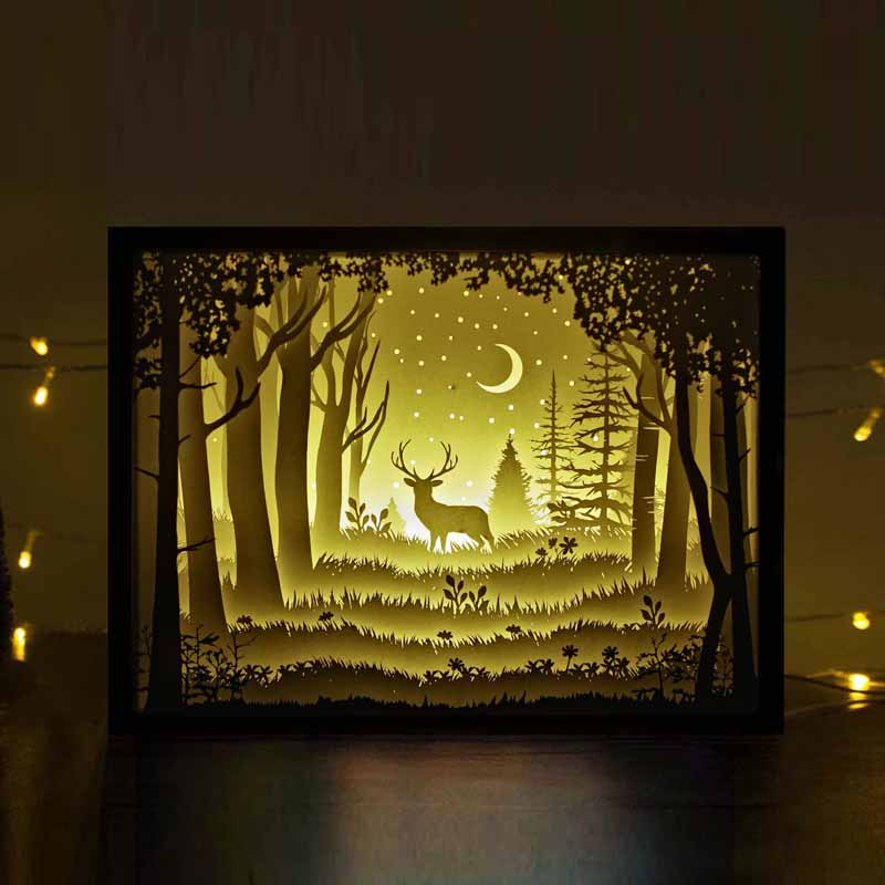 the deer in the deep forest at night papercut light boxes unique night lights. Black Bedroom Furniture Sets. Home Design Ideas